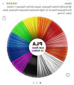 1.75mm Filament 3D Printer Pen Refill, 10 Feet Per Color Wit