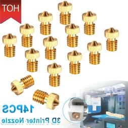 14x 7 Sizes 3D Printer Extruder Brass Nozzle Print Head for