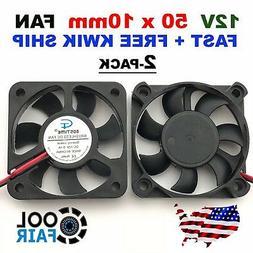 2 Pcs 12V 50mm Cooling Fan 50x50x10mm DC PC Computer Case 3D