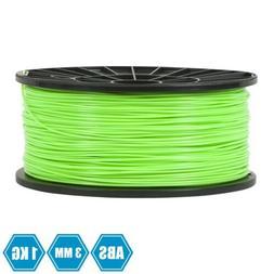 3D Printer Filament 3mm ABS BRIGHT GREEN 2.2LB 1KG SPOOL 3D