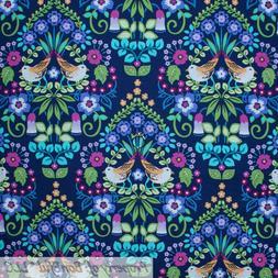 BonEful FABRIC FQ Cotton Quilt VTG Blue Rainbow Bird Damask