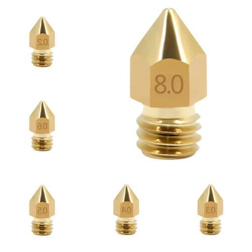 10pcs MK8 Extruder Nozzle M6 3D Printer Extruder Brass Print
