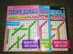 2 JUMBO Large Print Word Search Puzzle Books Retail $21.90!