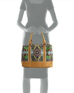 New GX by GWEN STEFANI Iman Satchel Handbag Beads Photo Prin